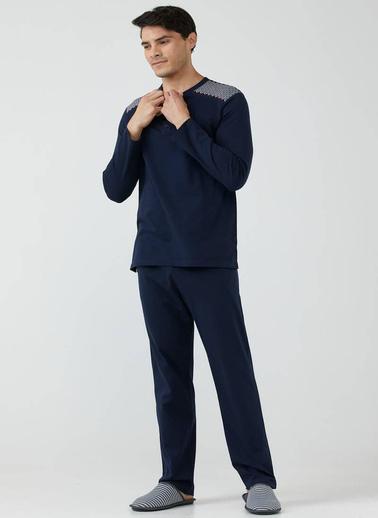 Sementa Yarım Düğmeli Erkek Pijama Takımı  Lacivert